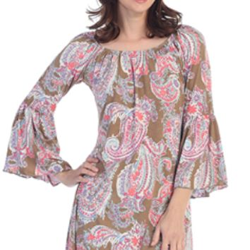 Honeyme  2B Together Ohio 902 Brown Coral Bell Sleeve Tunic Dress S-XXXL-Plus