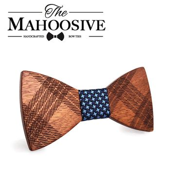 Mahoosive Wood Bow Ties for Mens Wedding Suits Wooden Bow Tie