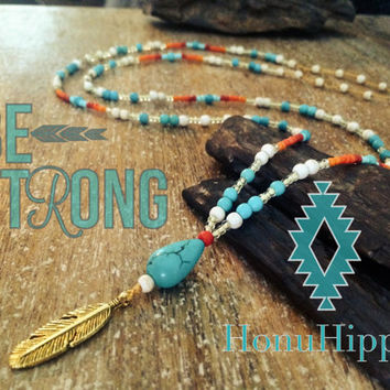 Power turquoise and feather necklace, long boho hippie necklace