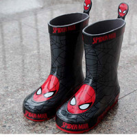 Free shipping Children's Shoes Rain Boots Spider Man Winter Baby Boys Snow Boots Boys shoes Baby shoes Children's Rubberboots