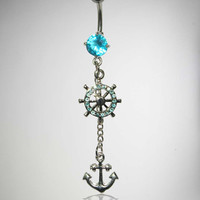 14 Gauge Turquoise Gem Silver Anchor Banana Belly Button Ring