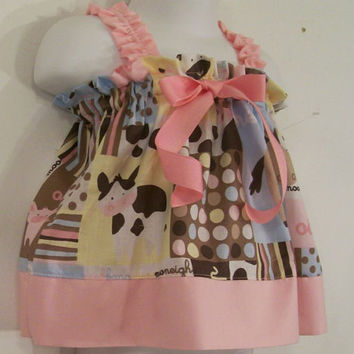 Baby Girls Dress-Rylee Swing Dress-Animals with pink-Baby Shower Gift--newborn-READY TO SHIP-