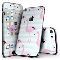 Pink Flamingos Over Blue Stripes - 4-Piece Skin Kit for the iPhone 7 or 7 Plus