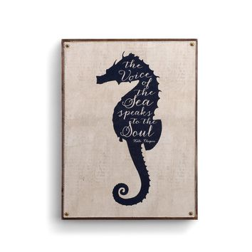 "Beyond the Shore - Seahorse Canvas Wall Art - 16"" H x 12"" W"
