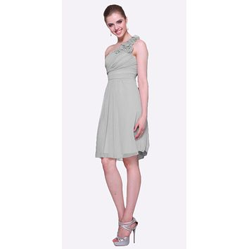 Silver One Shoulder Chiffon Knee Length Bridesmaid Dress