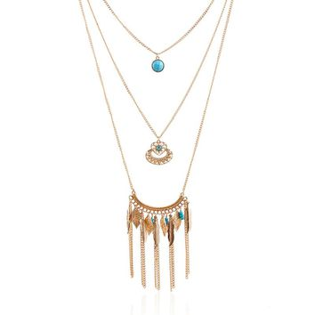 Szelam Gold Long Tassel Necklaces Women Stone Beads Multilayer Necklace Pendants Boho Jewelry Sne160044