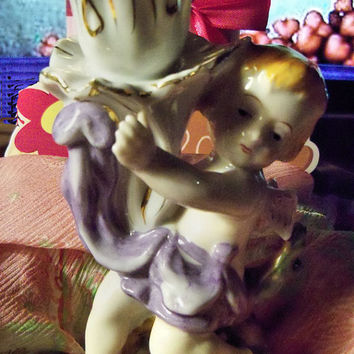 ENESCO IMPORTS Cherub Candle Stick Holder Handpainted Porcelain Figurine Gilt Edging