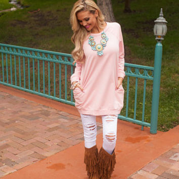 Raglan Sleeve Sweatshirt Pocket Tunic Dusty Pink