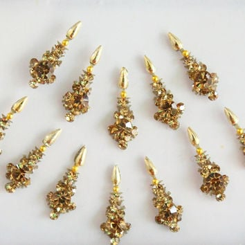 12 Gold Bollywood Long Face Jewels,Wedding Long Bindis Stickers,Stone Bindis,Gold Bindis,India Bindis ,Antique Bindis,Self Adhesive Stickers