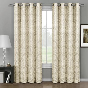Beige Aryanna Jacquard Grommet Top Curtain Panel Pair (Two Panels )
