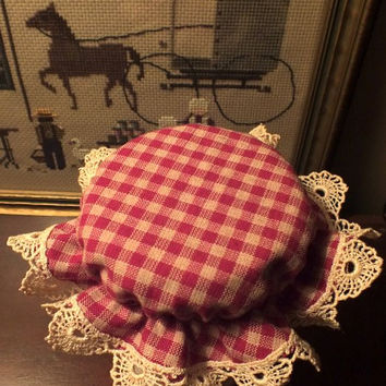 6 Dark Red Checked Mason Canning Jar Bonnets/Jar Toppers /Jar Lid Covers with Ecru Crocheted Edging