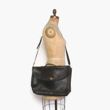 Authentic 90s COACH Messenger Bag / Vintage 1990s Black Leather New York City Briefcas