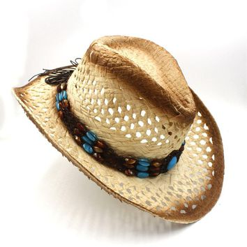Handwork Women's Men's Raffia Hollow Western Cowboy Hat For Gentleman Western Word Cowgirl Jazz Cap Dad Sombrero Beach Sun hat