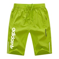 ADIDAS Clover 2018 summer new men's sports casual breathable comfortable five pants Fluorescent green