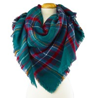 Blanket Scarf - Teal Tartan Plaid