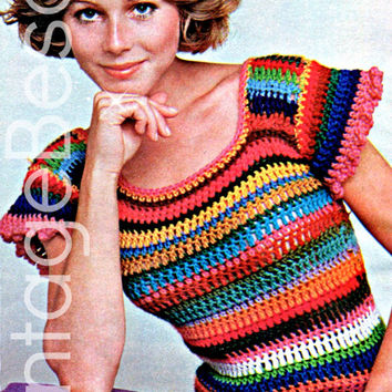 Striped Shrink Top 1970s Vintage CROCHET Pattern is snug and super cute with flared little sleeves w the slightest ruffle Sexy Instant PDF