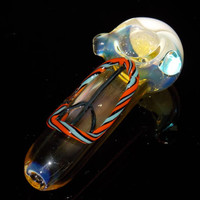 Peace Pipe - Non Traditional - Glass Bowl for Smoking - Fumed Color Changing Clear Piece - Peace Sign Symbol 1960's Hippie Flower  Power
