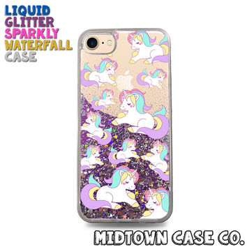 Unicorn Pattern Vintage Retro 80s Hearts Cute Liquid Glitter Waterfall Quicksand Sparkles Glitter Bomb Bling Case for iPhone 7 7 Plus 6s 6