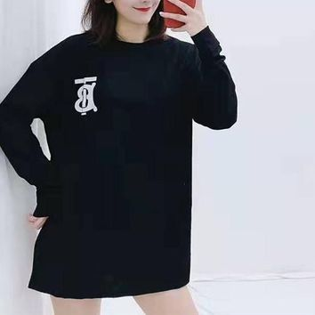"""TB""Woman Leisure Fashion Luminous Letter Luminous Personality Printing  Loose Long Sleeve Tops Skirt"