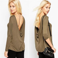Fashion 2016 Trending Fashion Knit Women Loose Backless Long Sleeve Round Necked Solid T-Shirt Top