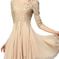 Floral Crochet Lace Sheer Sleeve Layered Chiffon Dress