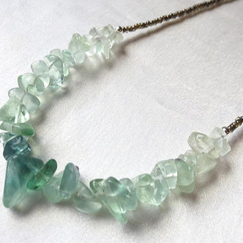 Long boho seaglass green fluorite ombré necklace. Simple, earthy. Green, blue, teal, aqua, stone jewelry. Spring colors. Great for layering.