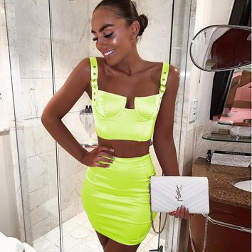 New satin party skirt set fluorescent green