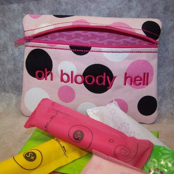 Oh Bloody Hell Tampon & Maxi Pad Taxi Pink Zippered Fabric Purse Pouch / Tampon Keeper