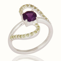 1.29 Carat Natural Amethyst And Peridot Gemstone Ring Made In Sterling Silver
