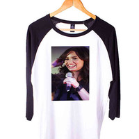 DEMI LOVATO Singing Short Sleeve Raglan - White Red - White Blue - White Black XS, S, M, L, XL, AND 2XL*AD*