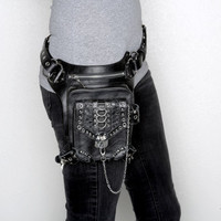 Leather Hip Bag and Holster. The Blaster 3.0 black leather with silver
