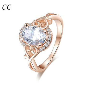 Rose gold plated lovely heart  with created diamond oval shape rings for women wedding party fashion jewelry gifts CCR157