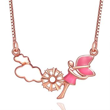Magical Princess Angel Clouds Wheel of Fortune Powers Amulet Pink White Accent Gold-Tone Necklace