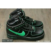 Nike Air Force One trendy classic in the help plate shoes F-HAOXIE-ADXJ Black + green hook