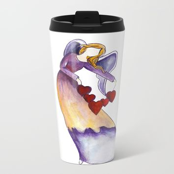 Angel With Hearts Metal Travel Mug by Salome