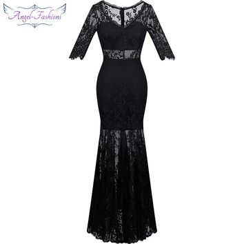 Angel-fashions Women's V Neck Half Sleeve See Through Lace See Through Long Prom Dress vestido de noche Black 311