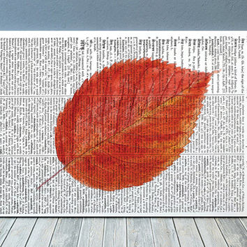 Autumn poster Fall leaf print Watercolor print Leaf decor RTA1887