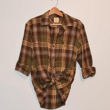 Vintage Plaid Flannel Shirt Vintage 90s Brown and Green Timberland Flannel Lumberjack