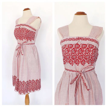 Vintage 1950's Red White Checkered Cotton Summer Sundress Mad Men Picnic Dress Size Small Garden Party Tea Dress Full Skirt Rockabilly
