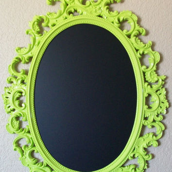 FRAMED CHALKBOARD-Any Color-Lime Green-Chalkboard-Lg Baroque Ornate Vintage Frame Magnetic Chalkboard-Vintage Wall Mirror-Kitchen Chalkboard