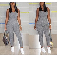 Foreign trade rompers women jumpsuit one piece bodycon jumpsuit full length grey women romper 8902