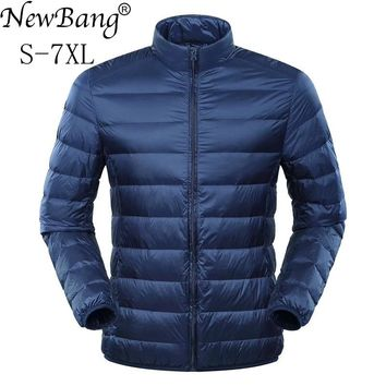 NewBang Brand 6XL 7XL Down Jacket Men's Large Size Ultra Light Down Jacket Men Duck Down Windbreaker Lightweight Feather Coats