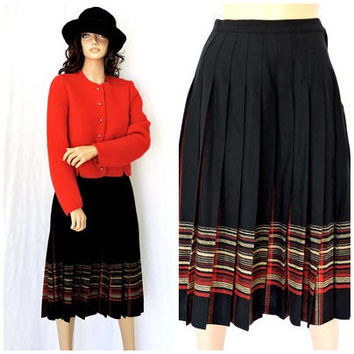 Tartan skirt / size 5 / 6 / 90s grunge Pendleton pleated long skirt /100% virgin wool black plaid maxi skirt / SunnyBohoVintage