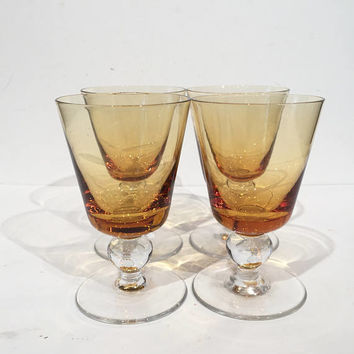 Amber Cocktail Glasses | Cordial Liquer Glasses| Ball Stem Cocktail Glasses Mid Century Barware, Bar Cart