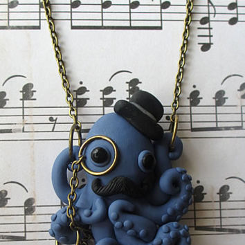 Dapper Octopus Necklace, Cameo Necklace, Skull Cameos, Gothic Necklaces, Horror Necklaces, Psychobilly Necklaces, Goth Necklaces, Ribcage Necklaces, Punk Rock Neclaces, Punk Necklaces Jewelry