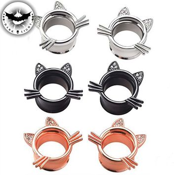 1Pair Stainless Steel Flesh Ear Tunnel  Plug Ear Reamer Cute Cat Body Piercing Expander Extension Flared Ear Dilation Extension