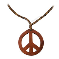 Peace Brown Wood Necklace on Sale for $5.99 at HippieShop.com