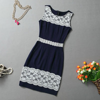 Vintage Round Collar Lace Splicing Sleeveless Women's Dress