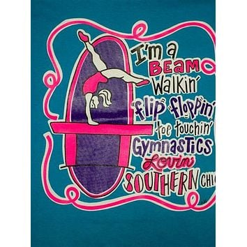 Southern Chics Funny Lil Girl Gymnastics Kids Youth Bright T Shirt