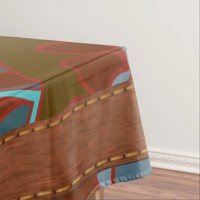 Turquoise and Brown, Retro Tablecloth